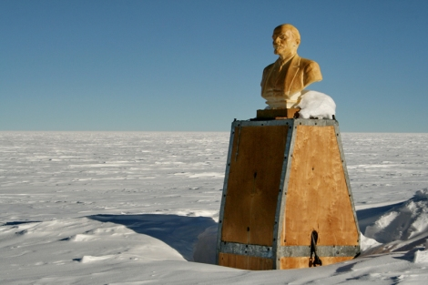 "Lenin stares toward Moscow from Antarctica's ""point of inaccessibility.""  Photo: Stein Tronstad/Norwegian Polar Institute"