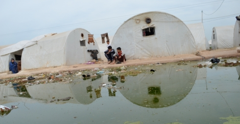 Disposal of waste water is a problem, and a major source of disease in the transit camp.